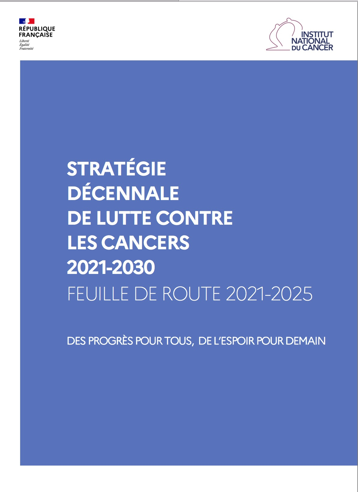 Couv strategie nationale cancer 2021 2030